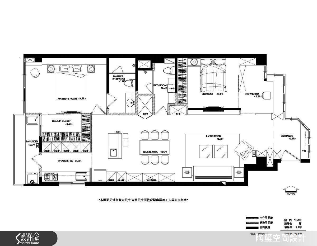 透過平面圖可以看見,在經過格局調度後,主臥、客房、衛浴與餐廚空間的比例相當均衡。