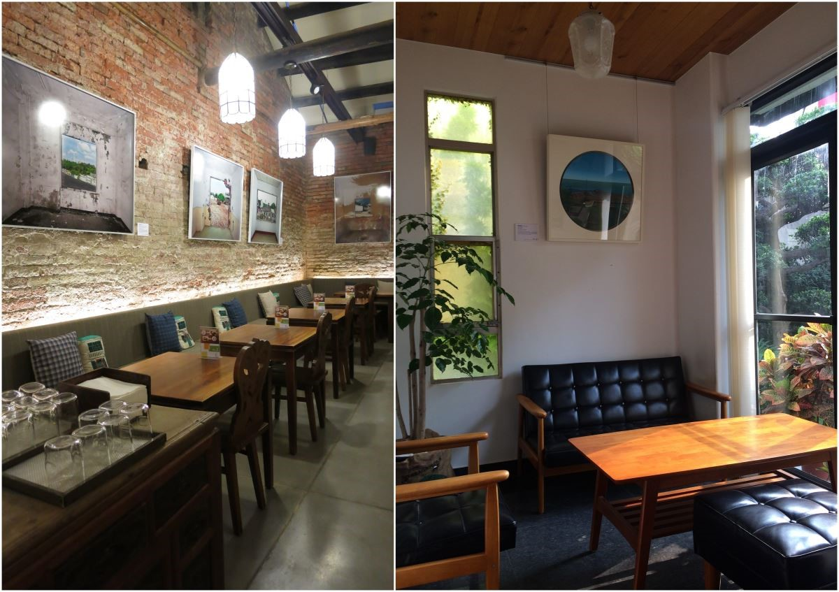 (左)正興咖啡店中原本斑駁的老屋紅磚牆,特別架上搭配風格的竹架,在牆面懸掛藝術家陳伯義作品;(右)一緒二 x 蘇郁嵐風景畫,展現悠然自然的空間感。
