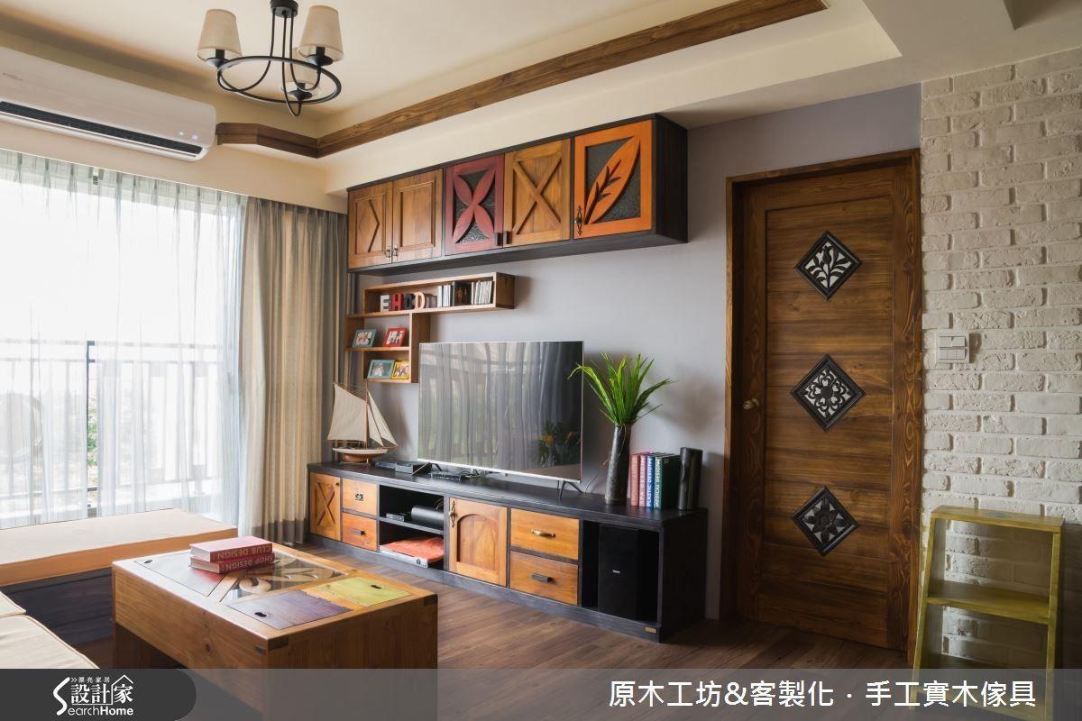 上掀式的客廳茶几,每個色塊都是小掀蓋,看起來乾淨整齊又活潑,有層次又跳色的電視櫃,怎麼看也看不膩。