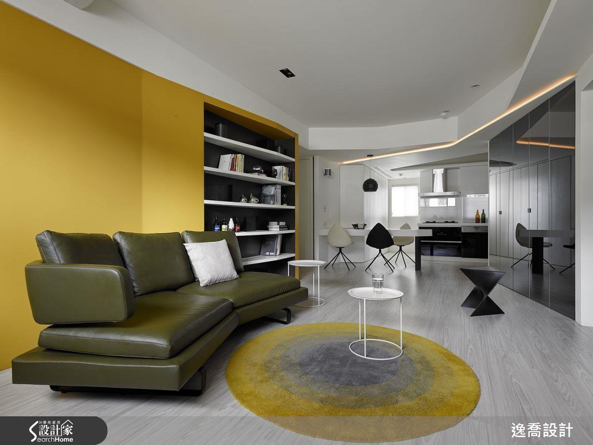 將壁面的幾何造型延伸至樑面,創造活潑而前衛視覺端景。