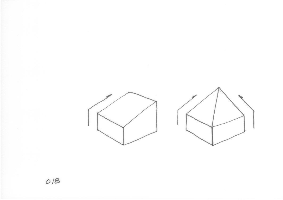 只有1個方向的斜線限制,2個方向的斜線限制,面對正北邊而必須傾斜屋頂的同時,又要接受2方向受到鄰地界線的斜線限制而形成的模式