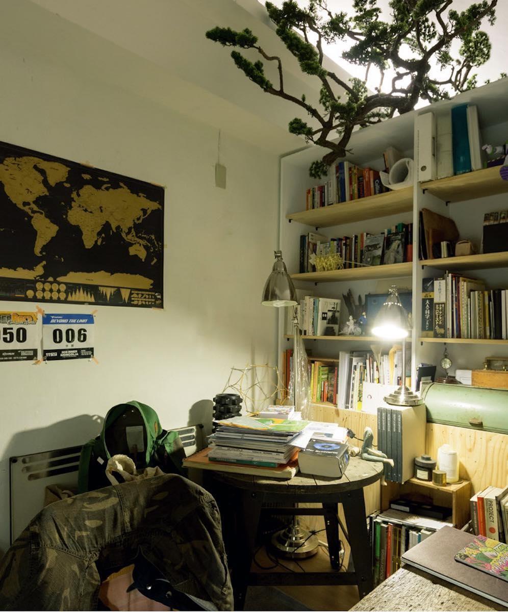 讓植物與空間共存。植物本身有自己的姿態與語言,李霽巧妙地將它橫放於櫃體上,修飾了空間死角處,也做到讓植物與空間共存。