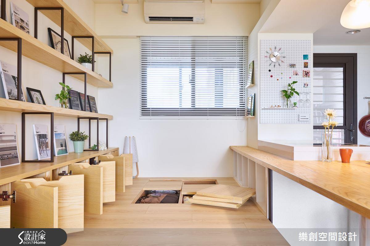 設計師結合廚房與書房,以一張長桌為界,就讓一個空間擁有 5 種機能!不僅節省空間,更緊密串連一家人的生活!