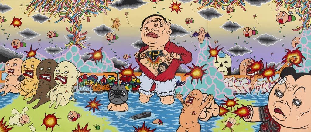 文化部藝術銀行 x TAF空總,展出藝術家黑雞先生作品—〈難道我學過北斗神拳也要告訴你嗎〉