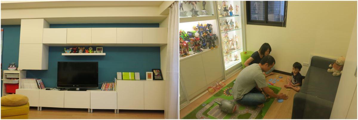 Before (左圖)一家四口原有的客廳電視櫃都採隱藏式門板,無法展示收藏品,存放的零食糖果也不便拿取。(右圖)原先的遊戲間空間較小,並獨立於客廳之外,讓大人不方便同時照顧二個孩子