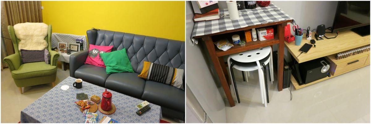 Before 一個人的客廳,希望有獨特風格的佈置主題,除了自己收藏品的展示空間之外,也希望增加折疊椅的收納空間,方便親友來訪和聚會使用。