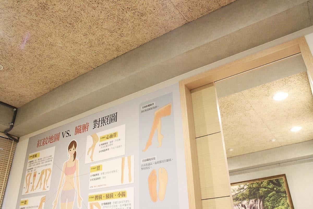 美絲板施作的天花板,與室內的灰色塗料十分相稱,都是強調健康無毒的環保建材。