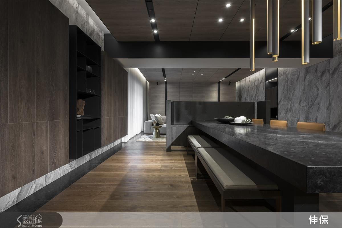 系統板材的進步,跨越石材使用的侷限性,使得大理石輪廓的可應用性大幅提升,無論是天花板、地、壁、門片、櫥櫃、廚具等。