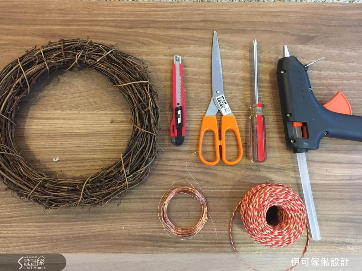 藤圈、美工刀、鐵絲、繩子、剪刀、熱熔槍。
