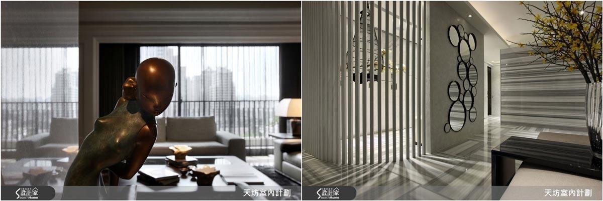 張清平設計師在空間中加入藝術元素,增強了東方文化的居家視覺與體驗。