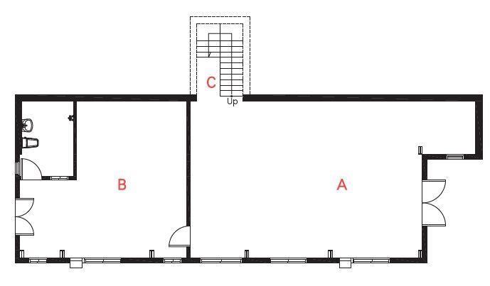 B1平面圖  A休閒工作區/B木工工作室/C樓梯   攝影_葉勇宏