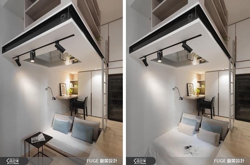 想要同時擁有客廳與臥房機能卻苦無坪數不足,利用伸縮床墊就能同時打造沙發與床鋪!