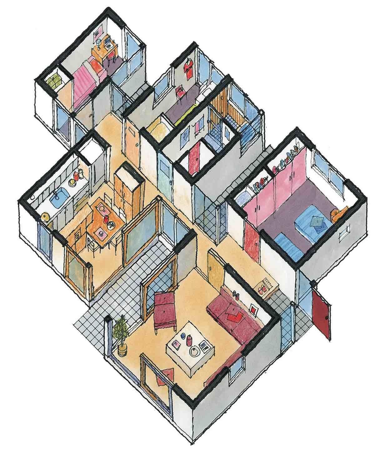 複數中庭型-平面等角透視圖  圖片提供_漂亮家居麥浩斯
