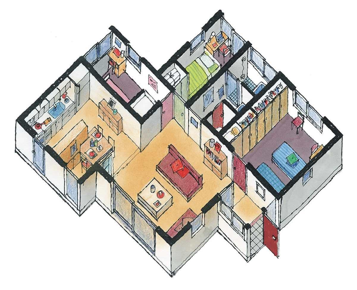 起居室中心行方案-平面等角透視圖  圖片提供_漂亮家居麥浩斯