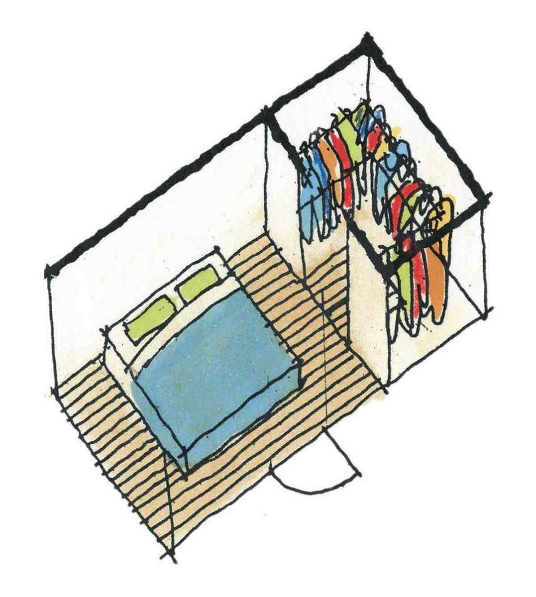 有更衣室(ㄇ字型)的寢室-等角透視圖 圖片提供_漂亮家居麥浩斯