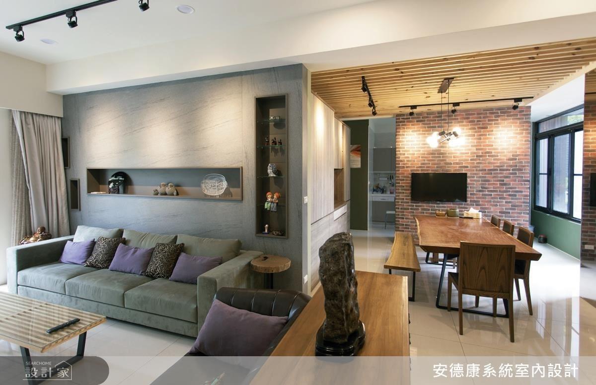 採光佳、通透感十足的明亮空間,搭配灰色石紋調性和暖色木紋調性,理性的粗獷中又帶有感性的溫柔,實為現代工業風的經典融合。