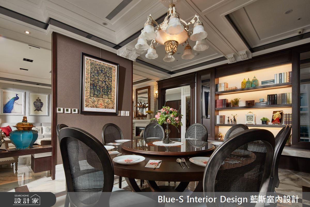 垂吊式吊燈,照耀出餐桌上的美味,圓桌式的設計,凝聚彼此的情感。