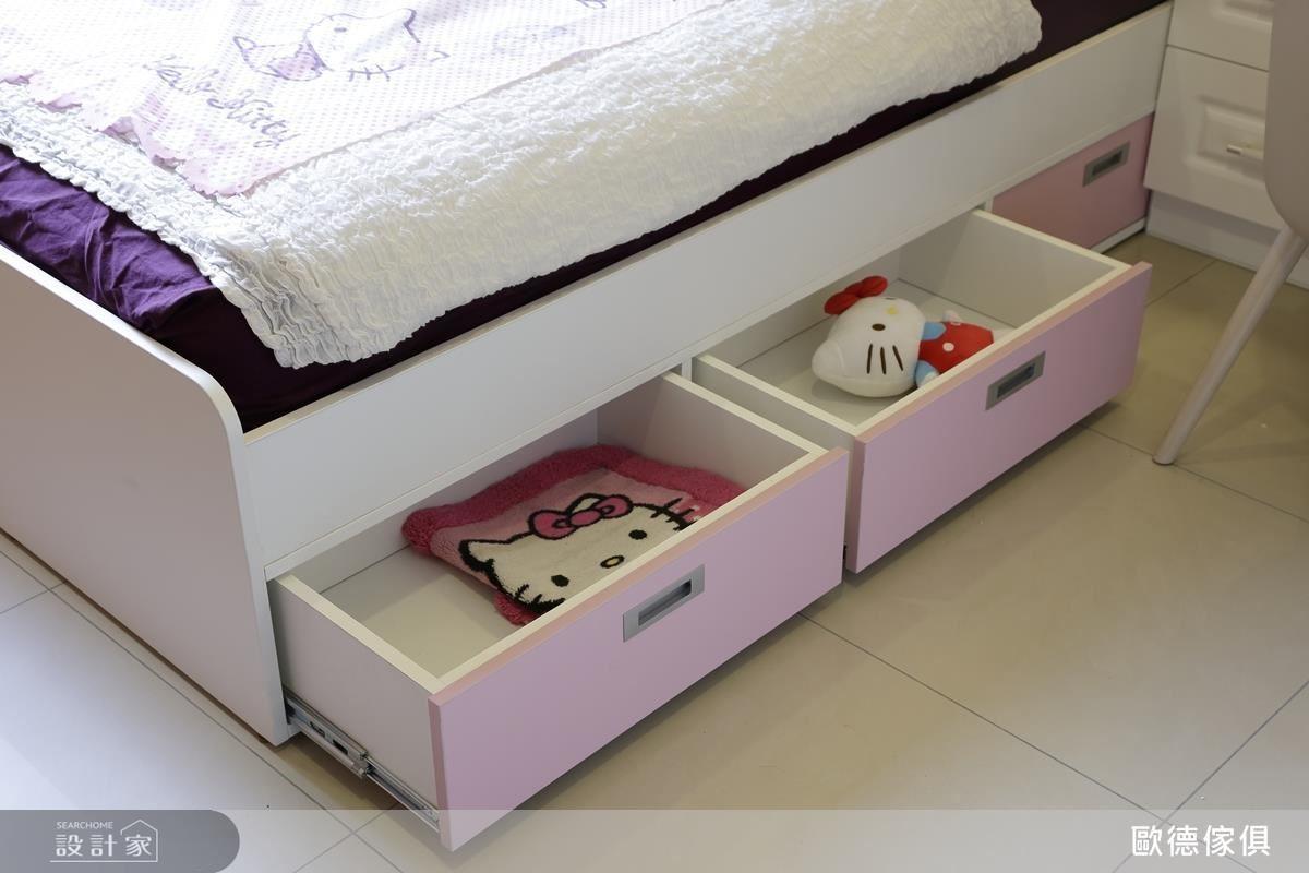 為小女兒客製化打造的粉色浪漫空間。