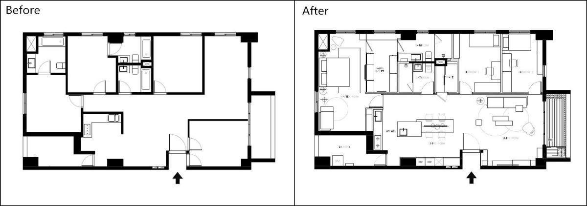 方構空間設計平面圖;將廚房牆面拆除改以開放式餐廚;主臥一側牆面則改用窗扇,讓採光更加良好。