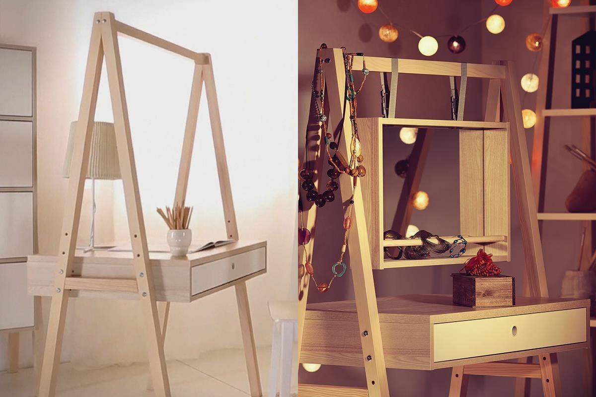 SPOT 系列中另一款單人書桌,如果是愛漂亮的女生用,還能搭配配件進化為化妝桌,桌面高度一樣三段可調,讓家具陪伴孩子開心成長。