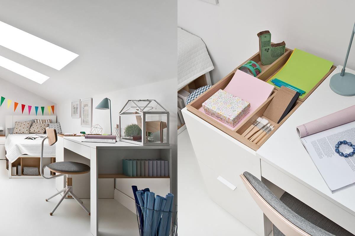 4 YOU 系列的機能書桌檯面,設有 2 組活動製物盒,除了易於保持桌面整潔,也可以翻面使用加大桌面長度。