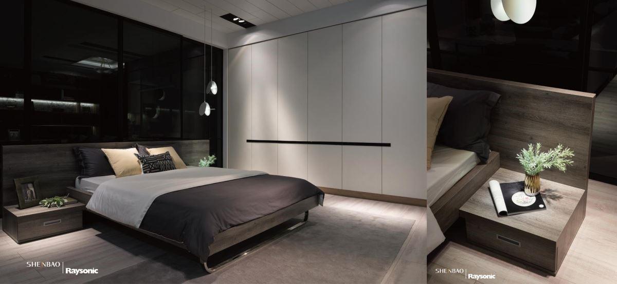 彷彿是真的原木質材,打造出床頭板造型,同時延伸出一旁的床頭櫃,展現出美感的一致性。