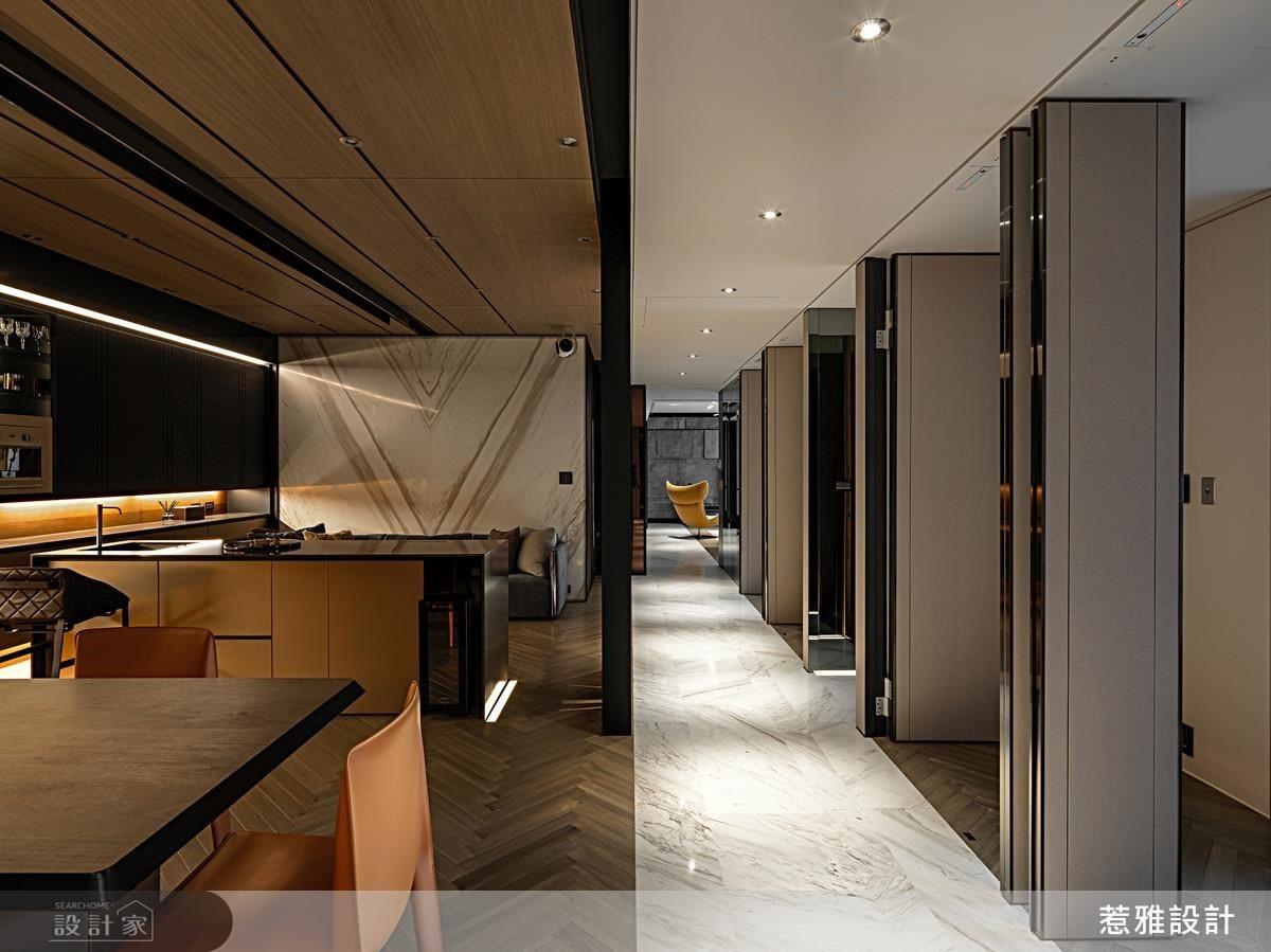 以可翻轉式的隔間牆面,解決單面採光的劣勢。