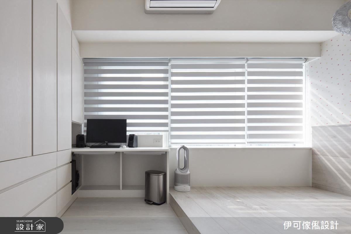 女孩房與主臥室選用調光廉柔化西曬陽光,選擇漸層的色彩,讓視覺更為柔和。