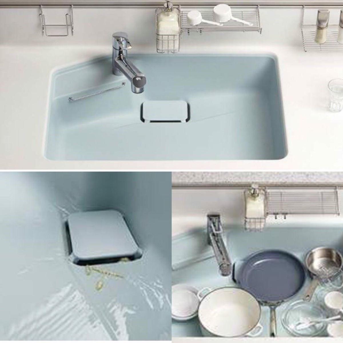 水槽顏色可以隨烹飪者喜好挑選,新型水槽擁有精巧洩水坡度與專利材質,讓污垢能順水流帶走,降低額外刷洗的頻率。(圖片提供_TOCLAS 昰品名廚)