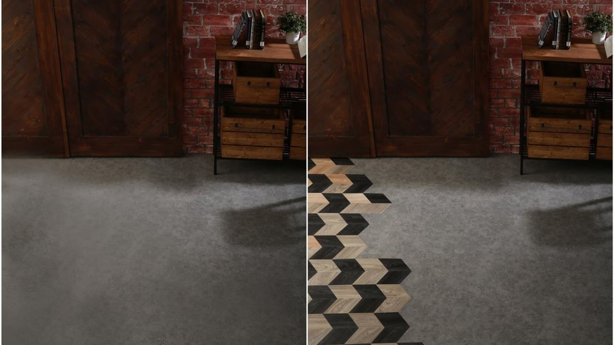地板搭配「活菱活現」後的變化。