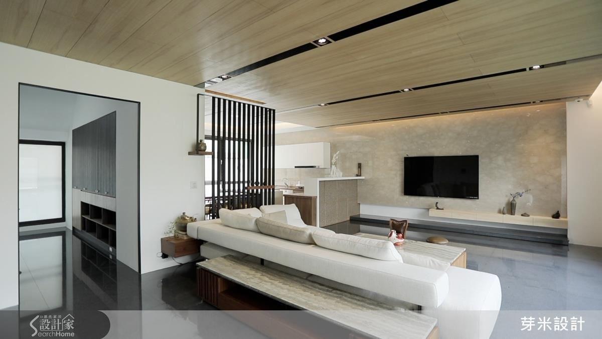 以日式風情打造公領域空間,讓屋主享受清靜悠閒的退休時光。