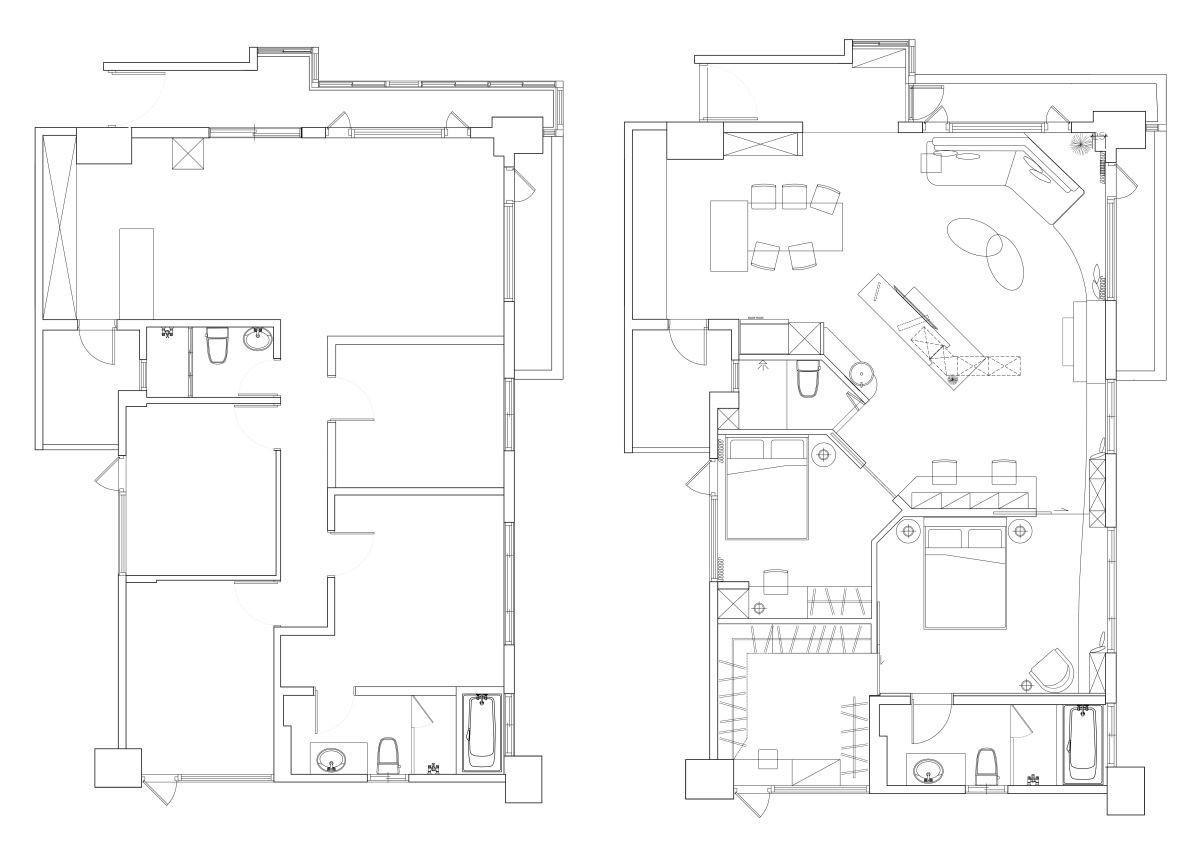 BEFORE + AFTER 平面圖提供_將作空間設計。