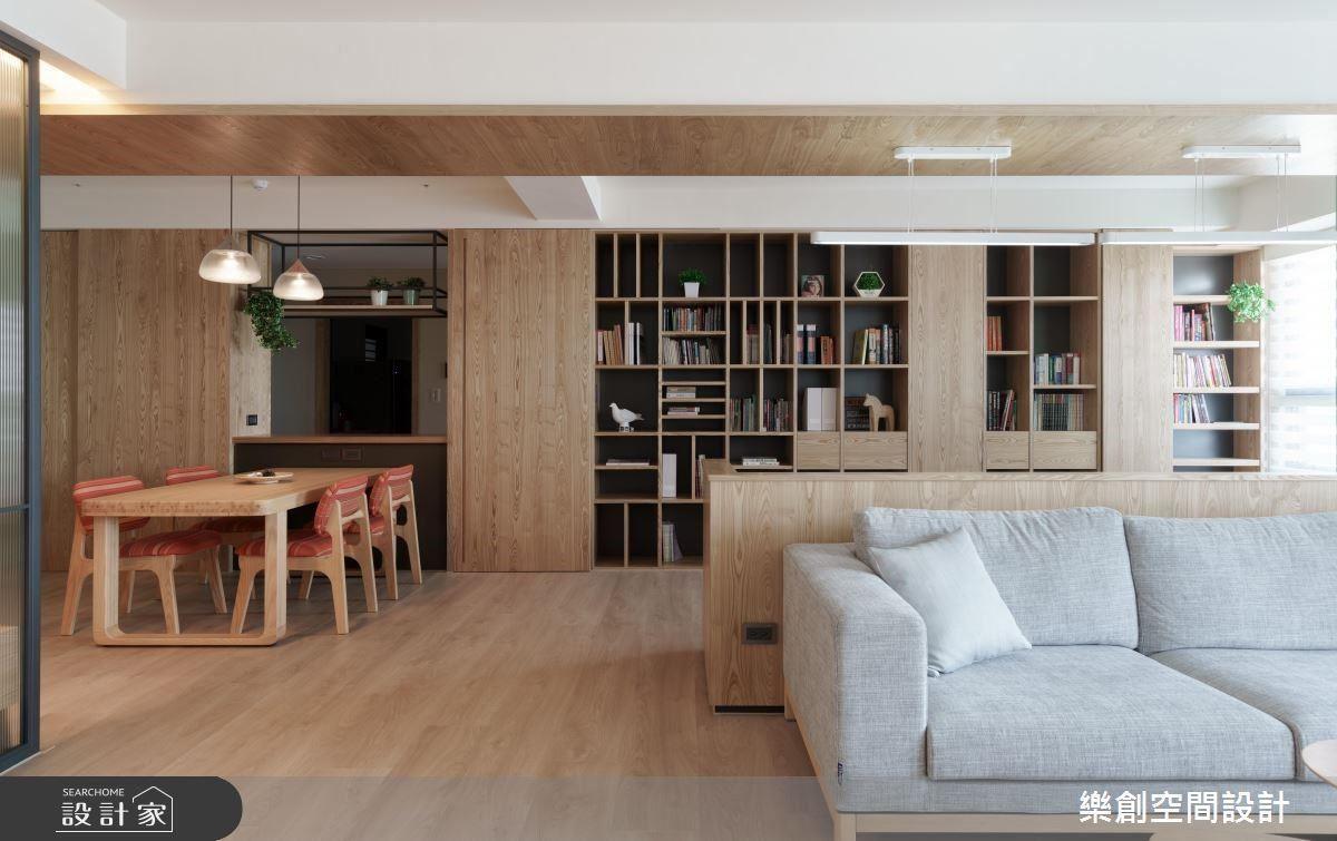 以書牆和拉門,區分公私領域,以開放式設計,串聯起生活動線。