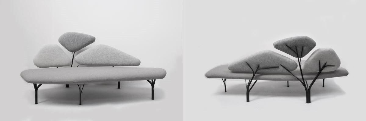 Borghese sofa。以羅馬第三大公園內的石松樹枝脈絡造型為靈感發想。