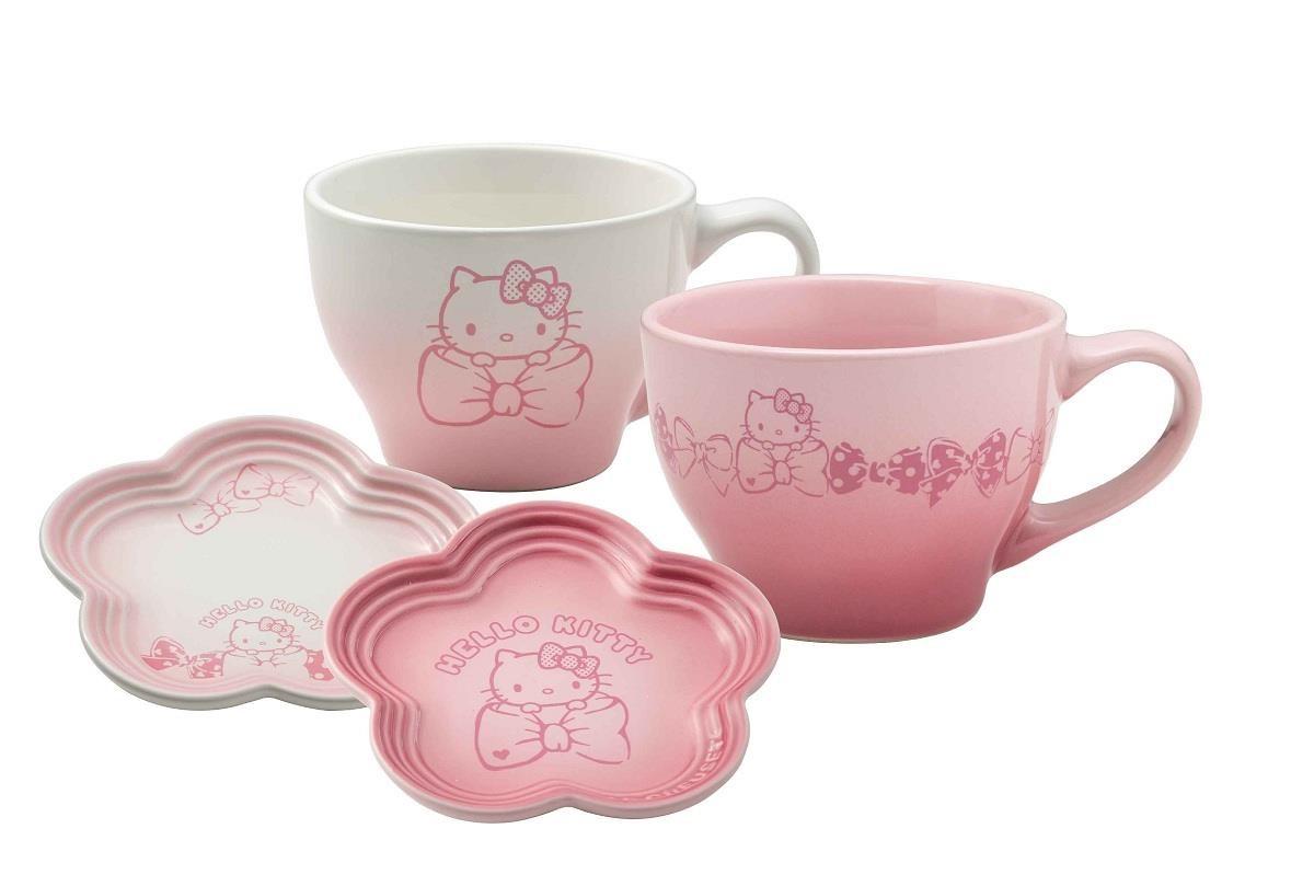 Hello Kitty 卡布奇諾杯2入附花型碟(櫻花粉+淡粉紅) 特價2380