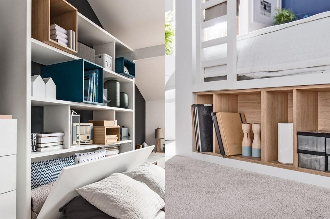 4 YOU 系列四柱床組後方床頭櫃可收放換季寢具,多色活動木盒為家具妝點設計感,床下三邊可當置物區,充分運用寶貴空間,選擇掀床款式更可享有床墊下約4組28吋行李箱空間。