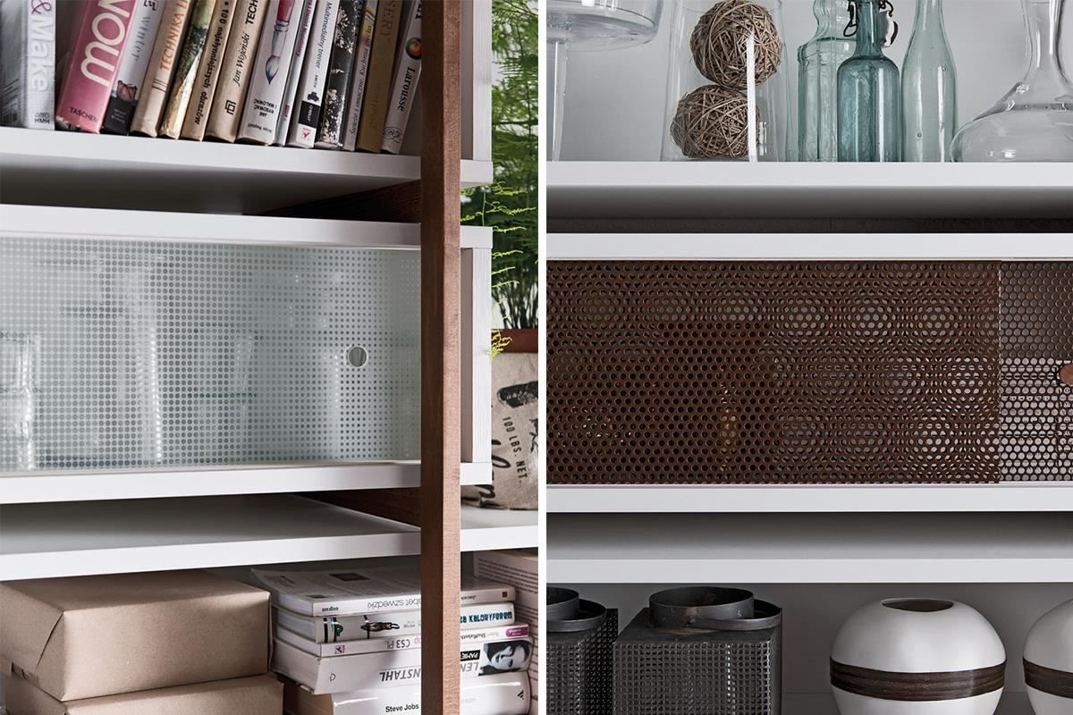 MIO 系列櫥櫃可搭配異材質滑門,包含金屬網門、木質門以及玻璃窗花或玻璃漸層等款式,輕鬆搭配出自己喜愛的風格。