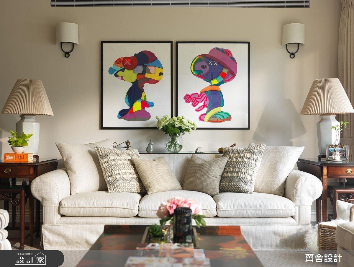 框底顏色與材質統一,想掛幾幅畫、圖案再如何不同都可以搭配。