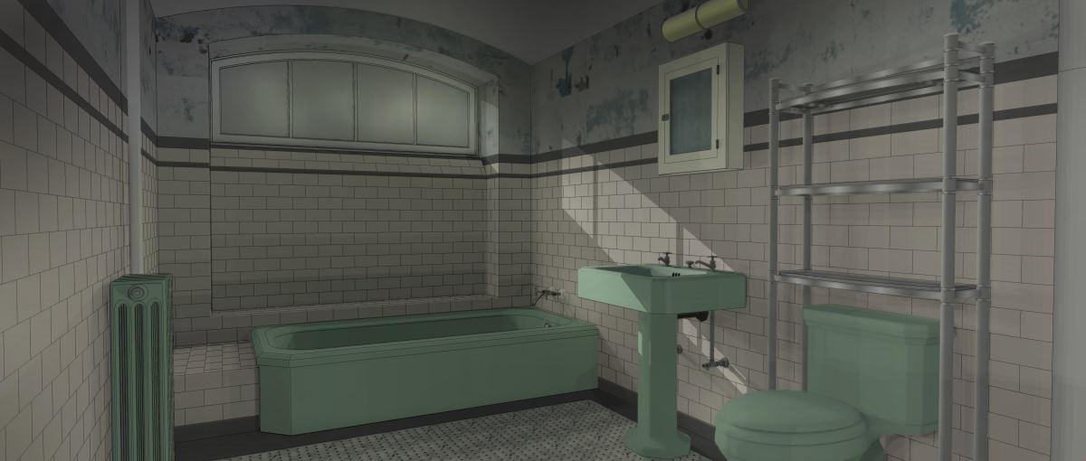 伊莉莎家浴室的3D圖上設定,毛巾架在馬桶上方,但明顯不利使用,後來改於規劃在浴缸及洗手台中間。