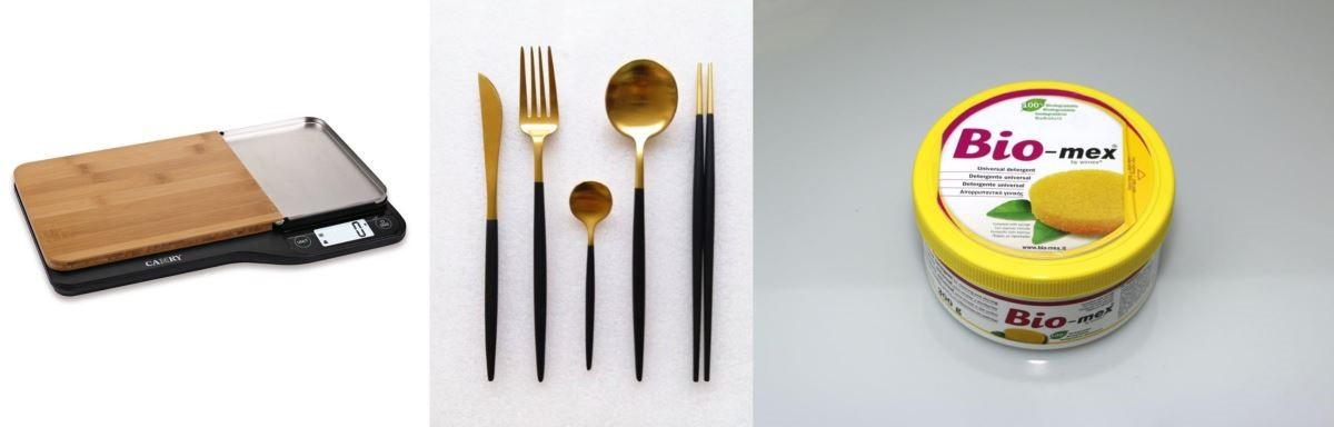 (左)砧板廚房秤 - 公司名稱:佳美工業(香港)有限公司,國家/地區:香港,展位:3G-D08,展區:廚具及廚房小器具;(中) 餐具系列 - 公司名稱:盈大國際有限公司,國家/地區:香港,展位:3F-E28,展區:餐具;(右) Bio-mex100%生物可降解清潔海綿 - 公司名稱:Wimex Srl,國家/地區:意大利,展位:5C-D15,展區:家居清潔及洗衣用品。