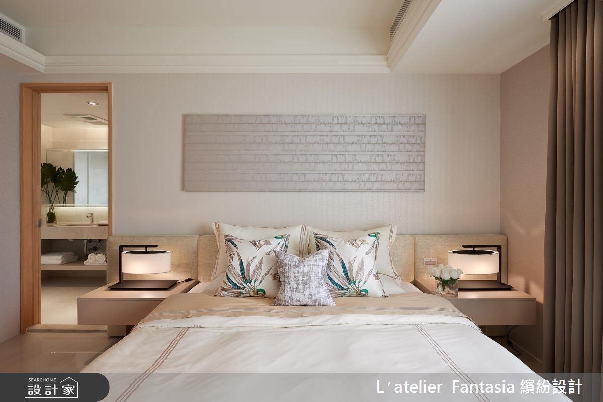 適切比例家具訂製,開闊臥房空間尺度,創造舒適睡眠空間。