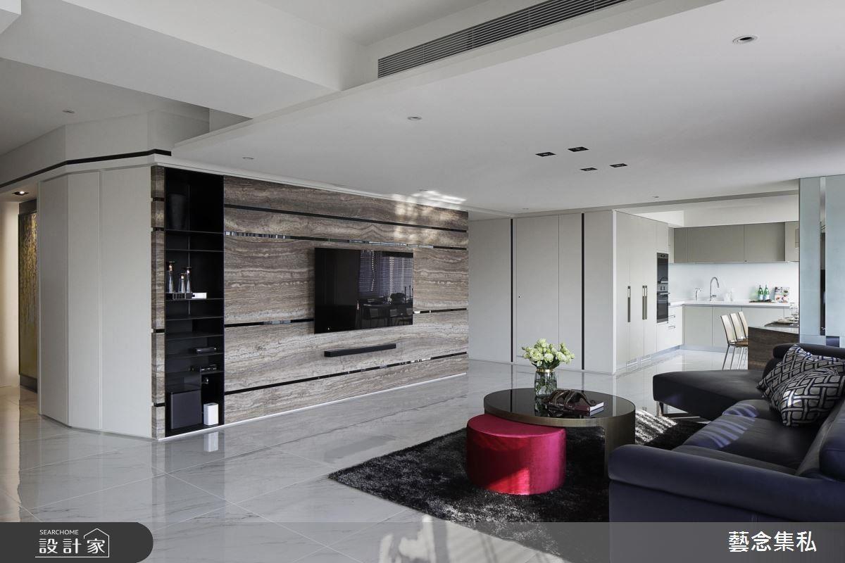 電視牆運用大地色石材描繪出空間裡的質樸,採用切割手法結合鐵件,傳遞現代感及細膩工法。