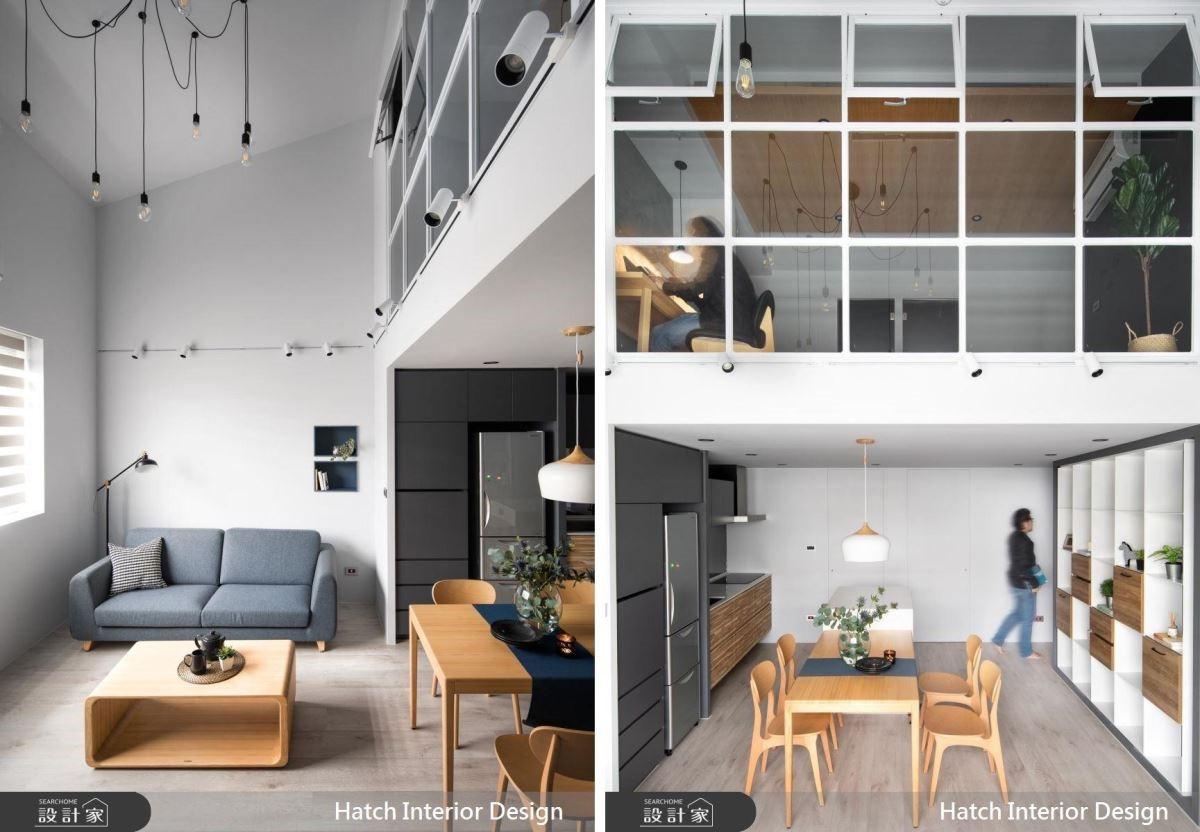 客廳掌握斜屋頂優勢,以挑高天花設計,讓視線向上延伸。