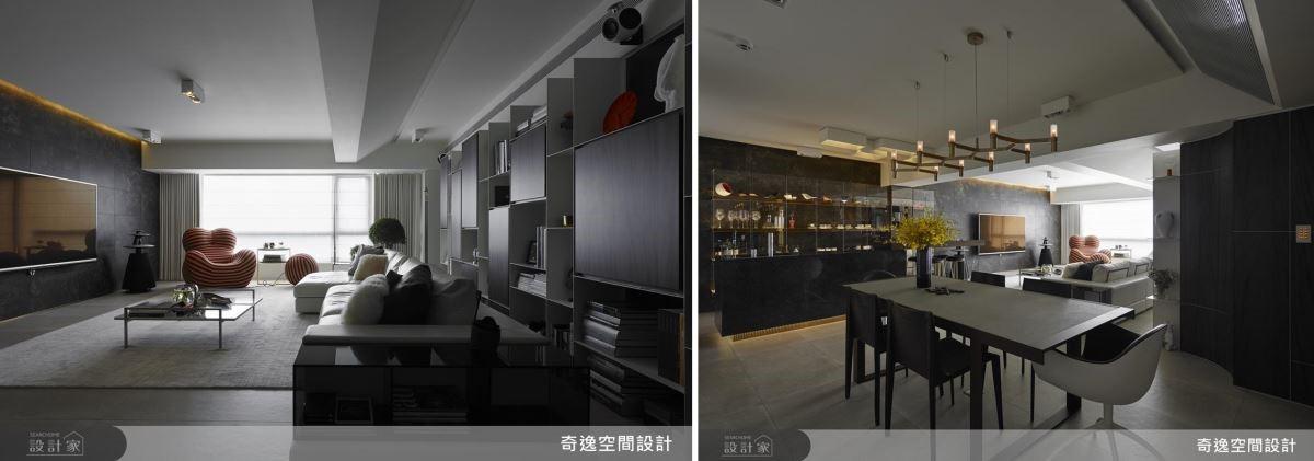 利用斜天花板隱藏冷氣機,廚房的手工燈具獨一無二。