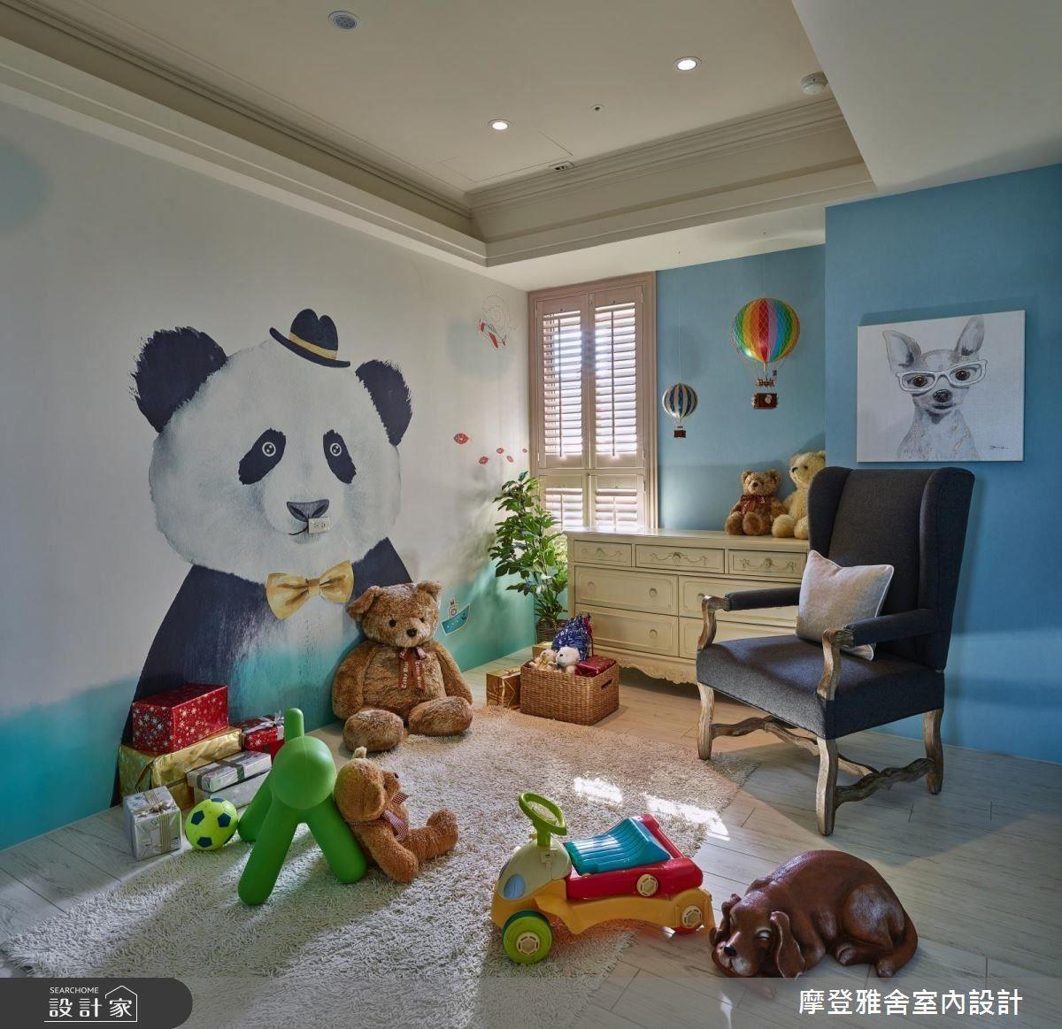 小孩房以童趣熊貓壁紙,給孩子美好童年時光。