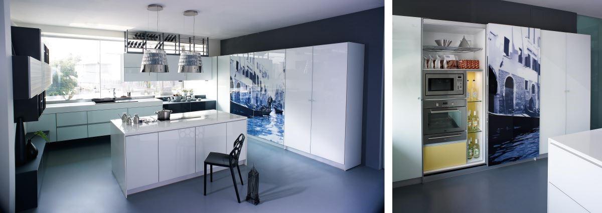「采鑽系列」,讓廚房電器櫃不僅可以客製化喜愛的圖騰,電動平行滑門的設計,只需 ONE TOUCH 觸碰,即可開啟,既輕巧又便利。