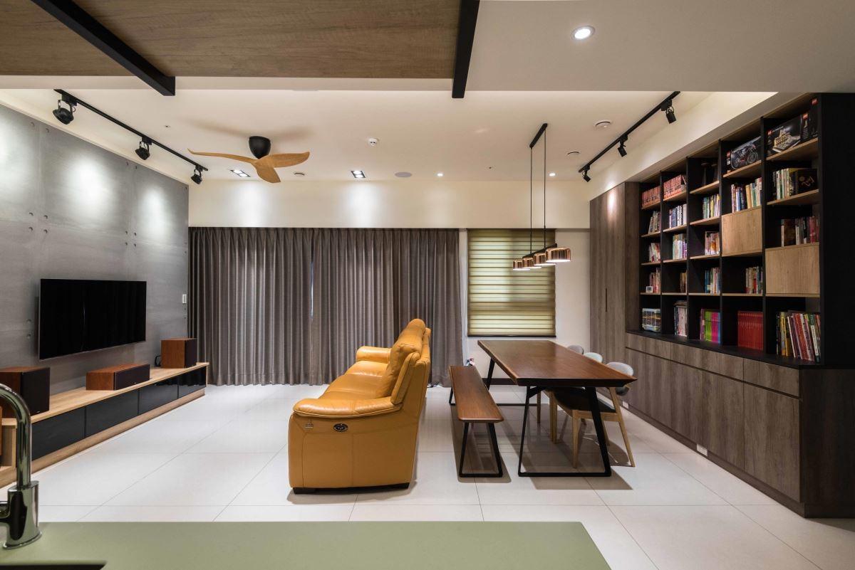 俐落的線條,充足的收納,機能強大的系統書櫃讓家充滿現代感。