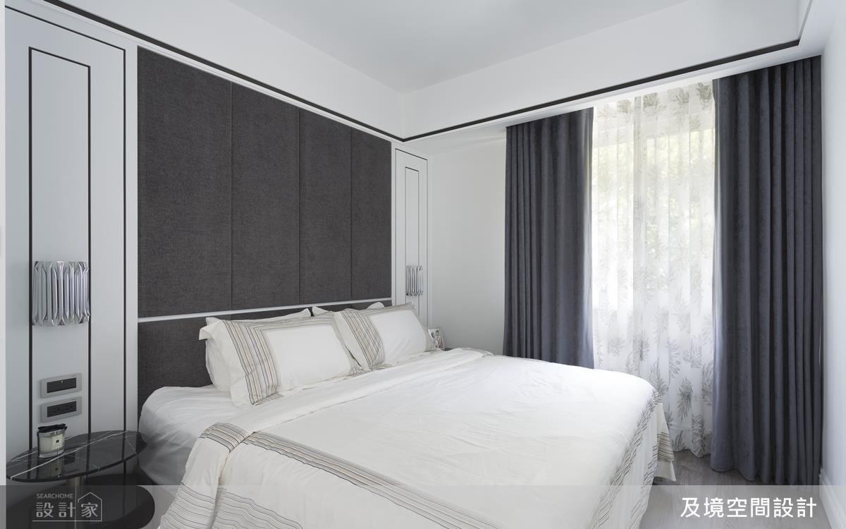 床頭背板為櫃體,供屋主擺放大型物品,兼具實用性。