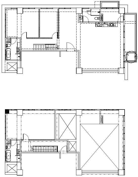 (BEFORE)原本建商的一字型樓梯切斷樓上與樓下的互動,空間也相當侷促。