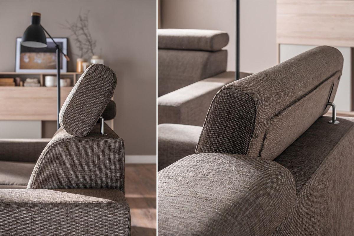 Milton系列沙發頭枕可旋轉、調整的體貼巧思,讓身體能更緊密貼合沙發,達到極致放鬆效果。